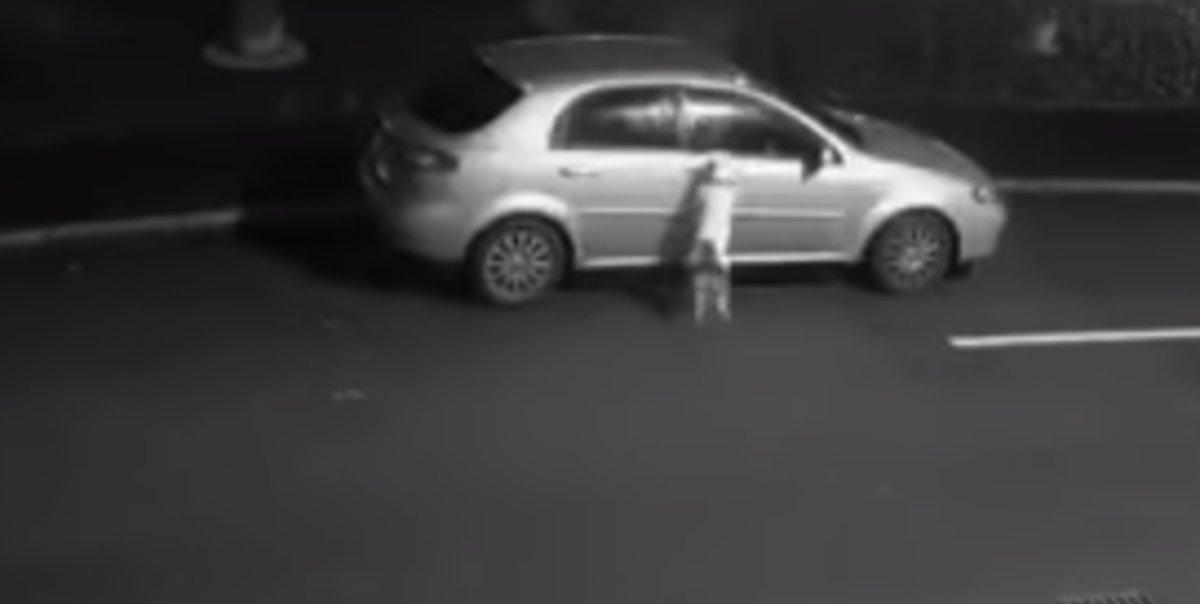 El momento en que un perro abandonado intenta que su dueño no le deje atrás.