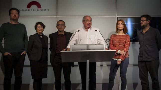 Rueda de prensa de los diputados de Catalunya Sí que es Pot, este miércoles en el Parlament.