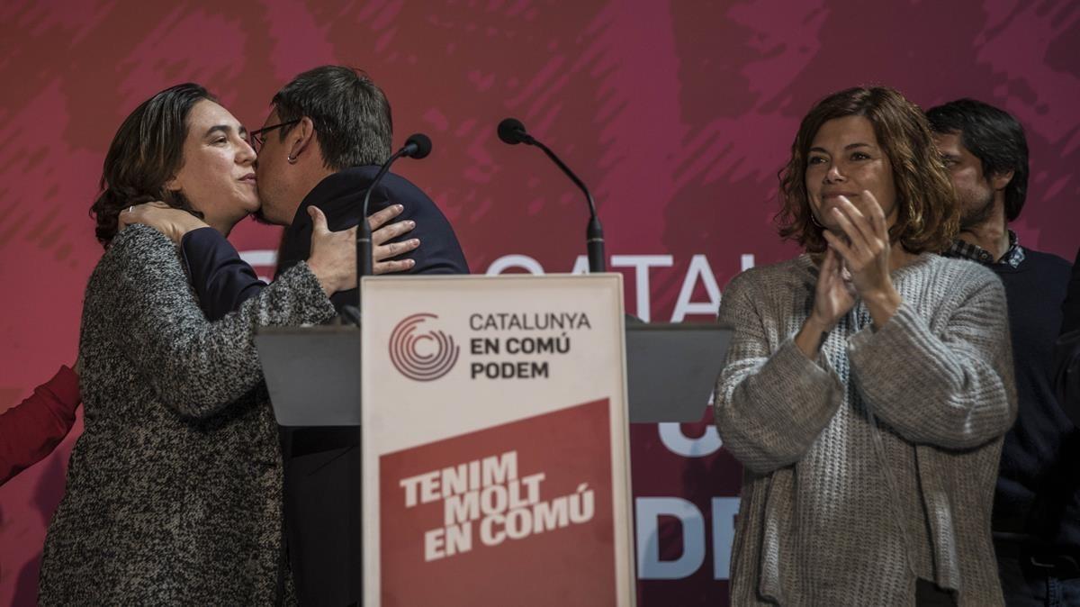 Xavier Domènech, Ada Colau y Elisenda Allamany hacen balance de los resultados de Catalunya en Comú Podem.