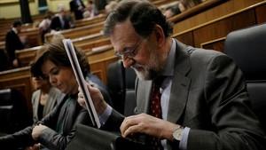 Mariano Rajoy, durante la sesión de control de este miércoles