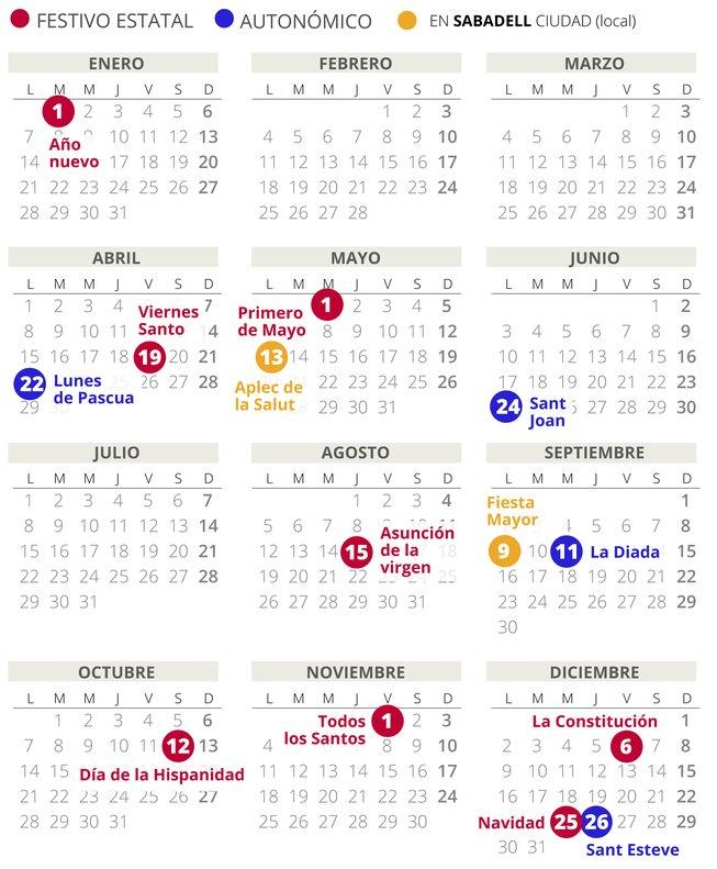 Calendario Laboral Sabadell 2019 Con Todos Los Festivos