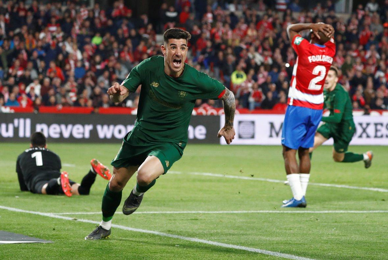 Yuri celebra el gol contra el Granada que ha clasificado al Athletic para la final de Copa.