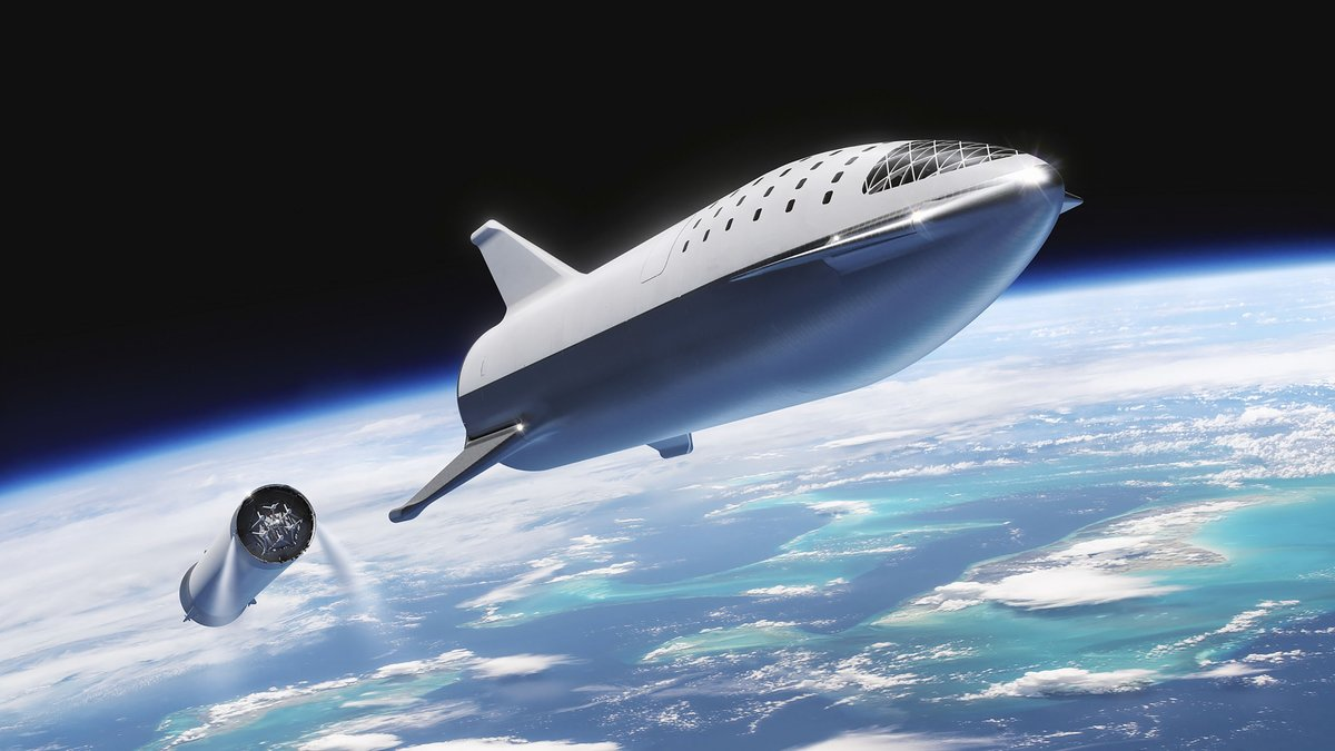 This artist s illustration courtesy of SpaceX  shows the SpaceX BFR Big Falcon Rocket rocket passenger spacecraft at stage seperation  - SpaceX boss Elon Musk has decided that his next rocket  which will go around the moon and eventually reach Mars someday  will be called  Starship    Photo by HO   SPACEX   AFP