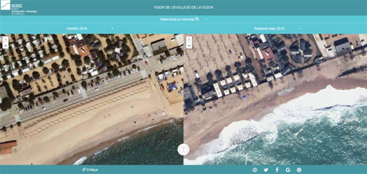 Antes y después del temporal en Malgrat.