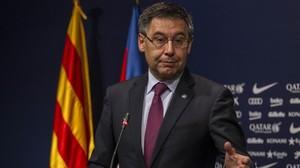 Bartomeu, en una rueda de prensa en el Camp Nou.