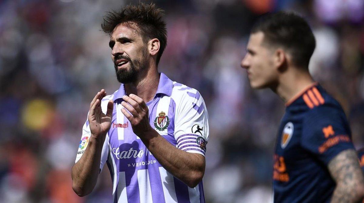 Borja Fernández, durante el partido Valladolid - Valencia que ahora se investiga.