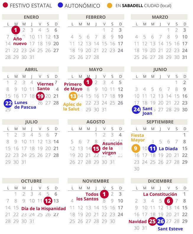 Calendario Loteria Nacional 2020.Calendario Laboral Sabadell 2019 Con Todos Los Festivos