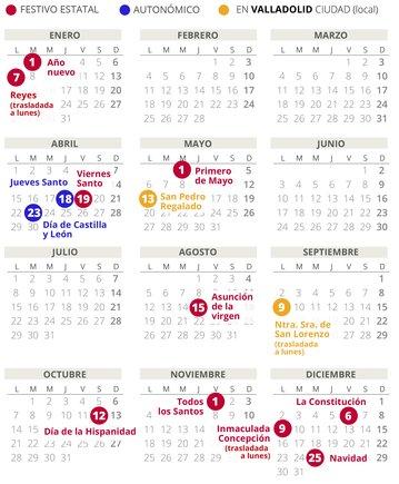 Calendario laboral de Valladolid del 2019 (con todos los festivos)