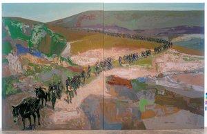 'Camino de exilio'. Esta del 2001 es una de las dos obras de gran formato que adquirió el Museu d'Història de Catalunya.