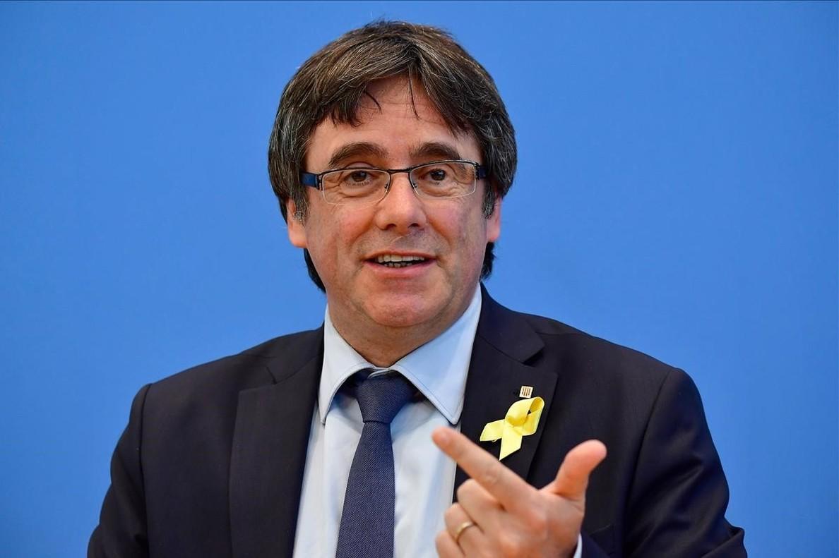 Carles Puigdemont, durante su comparecencia en Berlín.