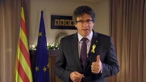 Carles Puigdemont, durante su mensaje de fin de año desde Bruselas.