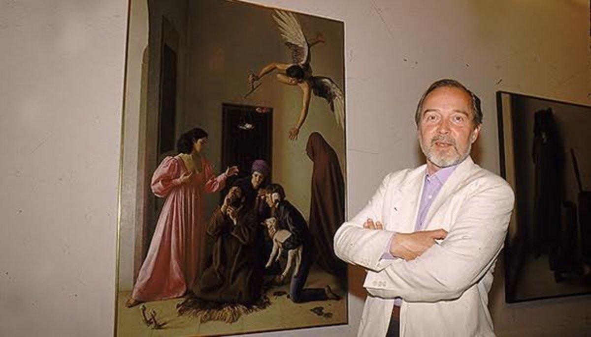 Claudio Bravo Camus, junto a su obra 'Tentación de san Antonio'.