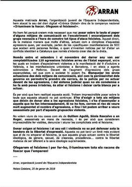 Comunicado de Arran reinvindicando el ataque a la sede de 'Crónica global'.