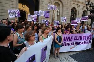 Concentración feminista contra la violencia machista en Barcelona en el 2017.