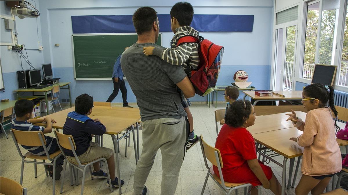 Primer día de clase en el instituto escuela El Til·ler de Barcelona, el pasado 12 de septiembre.