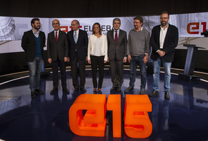 Gabriel Rufián (ERC), Josep Antoni Duran Lleida (Unió), Jorge Fernández Díaz (PPC), Carme Chacón (PSC), Francesc Homs (Democràcia i Llibertat), Xavier Domènech (En Comú Podem) y Juan Carlos Girauta (Cs), en el debate de TV-3.
