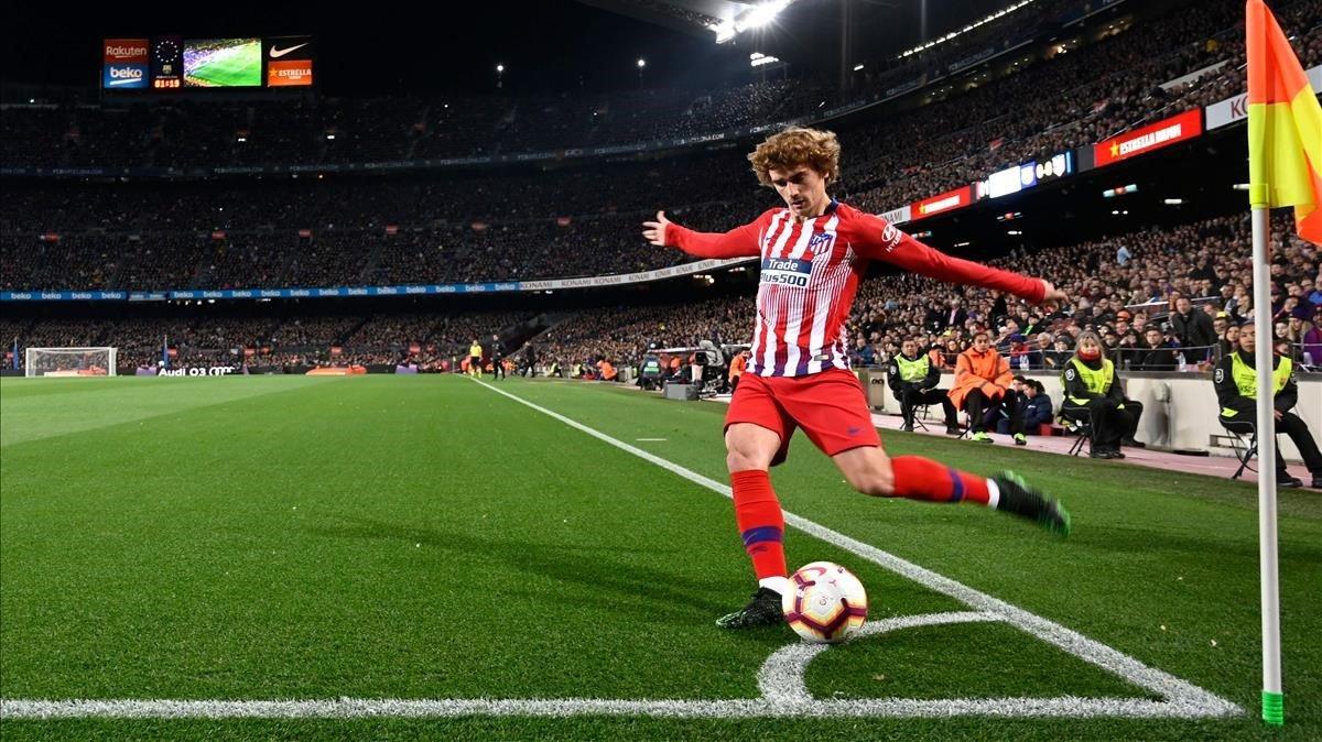 Griezmann, en el Barça-Atlético disputado en el Camp Nou el pasado mes de abril.
