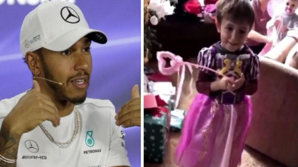 Hamilton y su sobrino disfrazado de princesa.