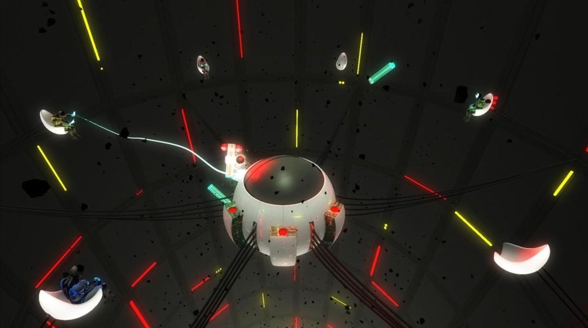 Aquí es donde creen que están losjugadores de Lostroom en un momento desu escapismoespacial: todo elequipo en formato cyborg sobreun reactor.