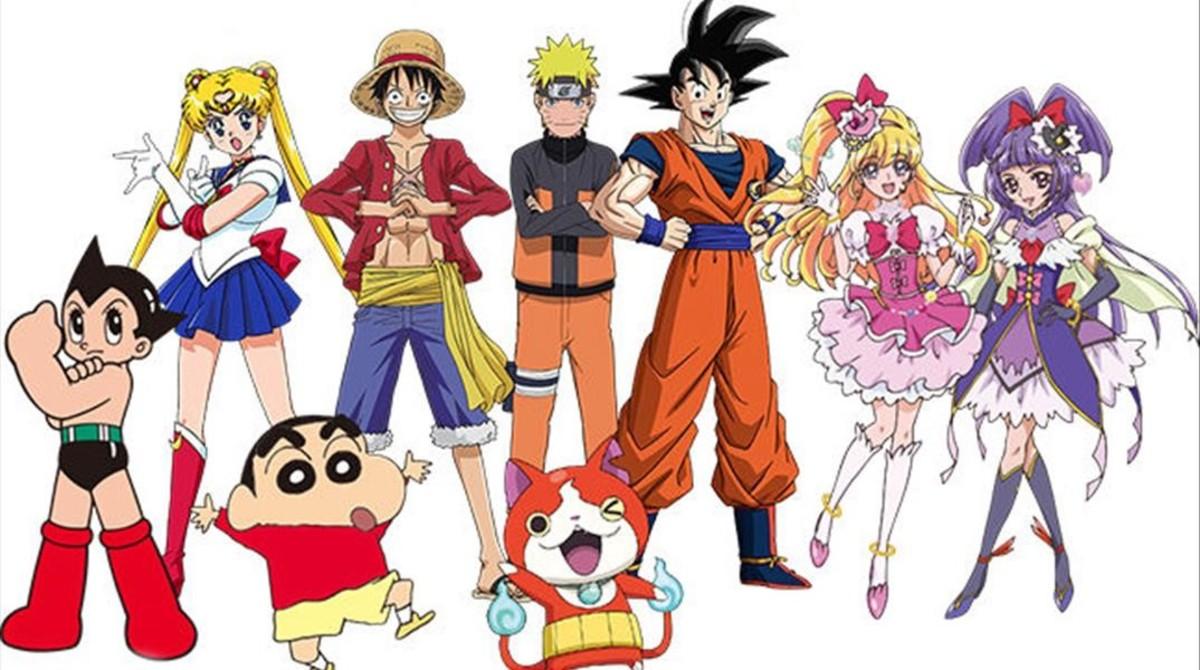 De izquierda a derecha, Astro Boy, Sailor Moon, Shin Chan, Luffy (One Piece), Naruto, el gato Jibanyan (Yo-Kai Watch), Son Goku y las Maho Girls Precure, embajadores de los Juegos Olímpicos de Tokio 2020.