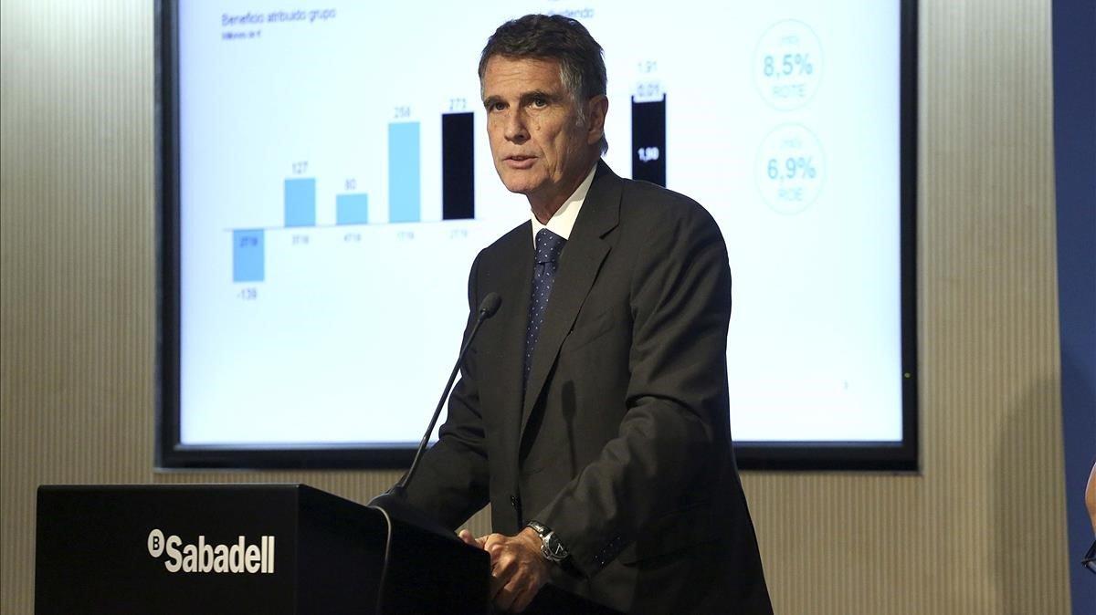 El consejero delegado del Sabadell, Jaume Guardiola, durante la presentación de los resultados.
