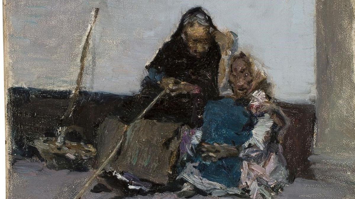 Fragmento del óleo de Fortuny 'Mendiants' o 'Dues captaires' (1870-1872), en el MNAC