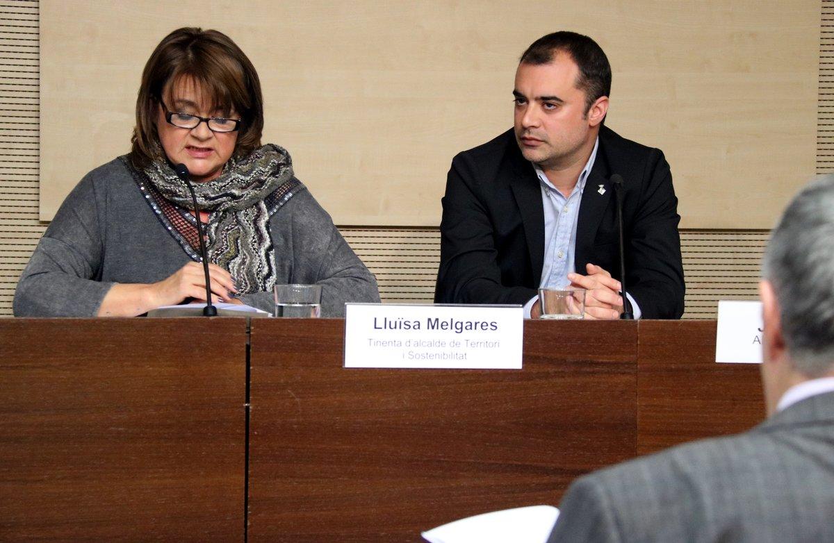 Lluïsa Melgares, teniente de alcalde de Territorio y Sostenibilidad en el Ayuntamiento de Terrassa, y Jordi Ballart, alcalde de Terrassa.
