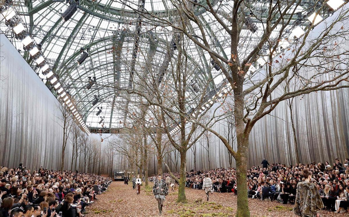 El Gran Palais, transformado en un bosque para el desfile de Chanel.