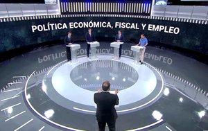 Los cuatro candidatos, en el plató de TVE.