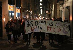 Manifestación en Terrassa contra la violencia machista.