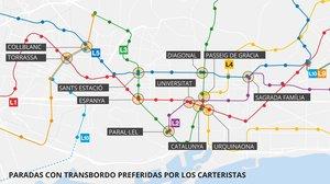 Dónde y cómo trabajan los carteristas del metro de Barcelona
