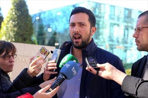 Miguel Arenas, Valtonyc, al salir de la Audiencia Nacional el 8 de febrero pasado.