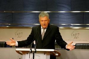 Pedro Quevedo, en una rueda de prensa en el Congreso.