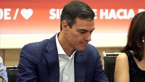 Pedro Sánchez,en la sede del PSOE.