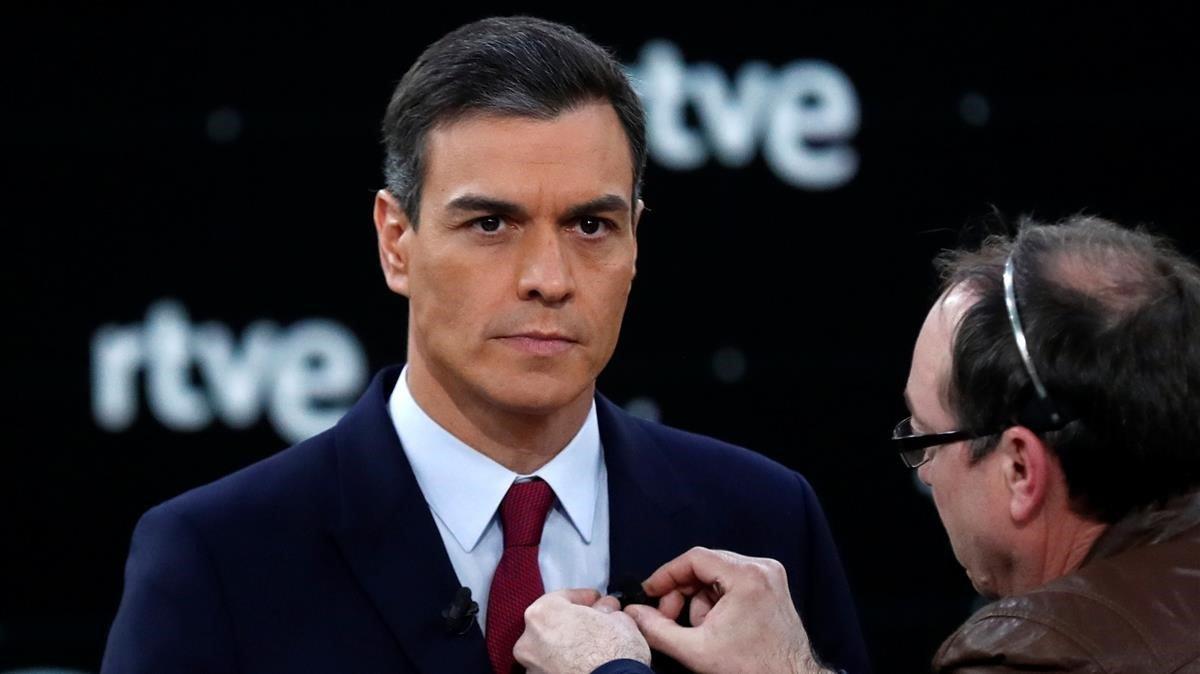 Pedro Sánchez, antes del debate en TVE.