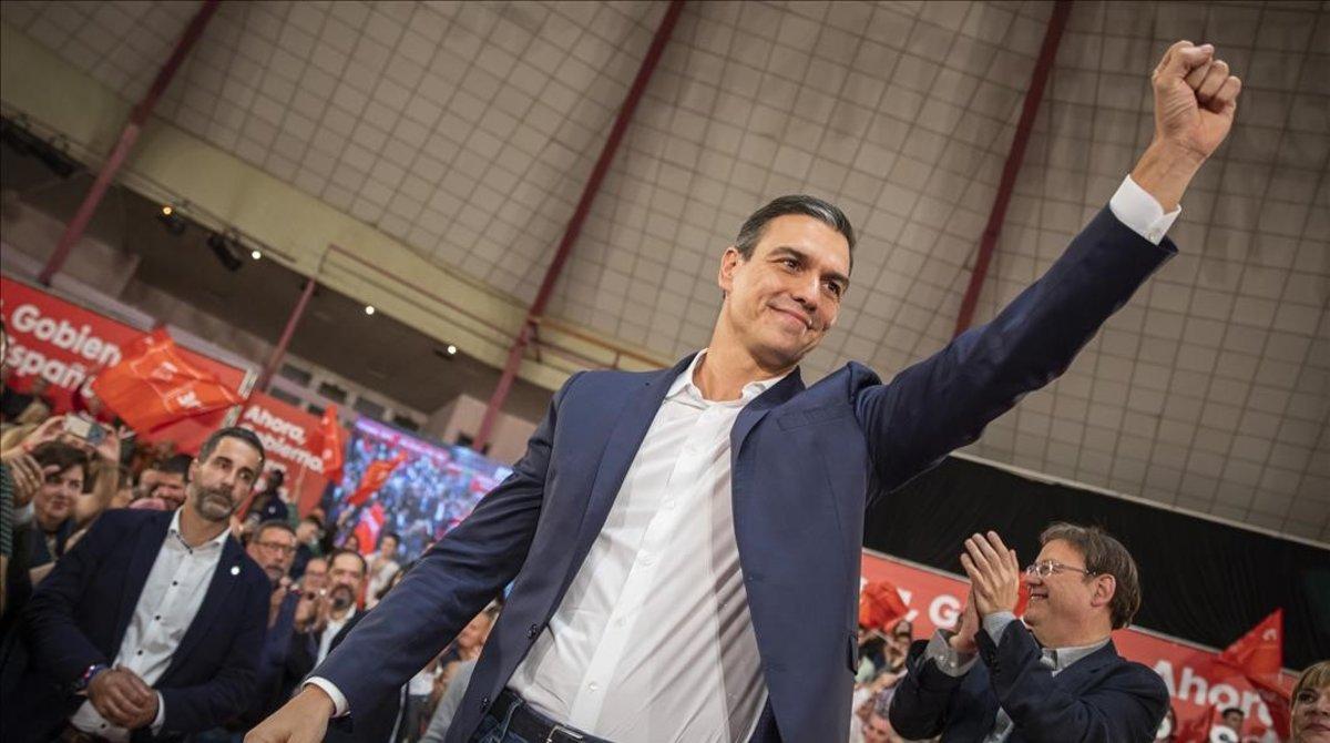 Pedro Sánchez, en el mitin de Castelló, el jueves.
