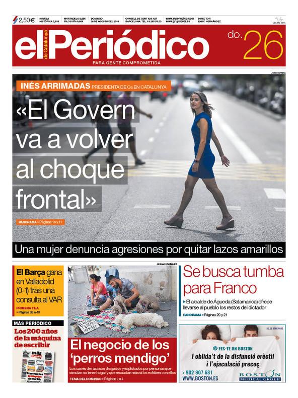 La portada de EL PERIÓDICO del 26 de agosto del 2018