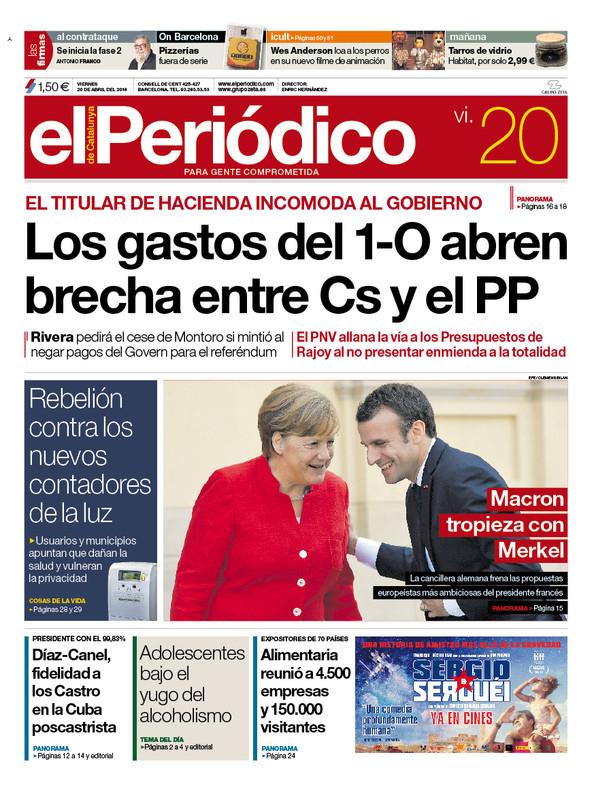 La portada de EL PERIÓDICO del 20 de abril del 2018