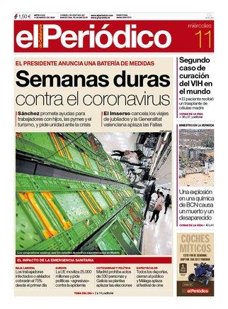 La portada de EL PERIÓDICO del 11 de marzo del 2020.