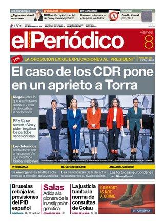 Prensa de hoy: Las portadas de los periódicos del viernes 8 de noviembre del 2019