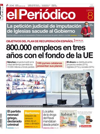 La portada de EL PERIÓDICO del 8 de octubre del 2020.