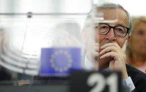El presidente de la Comisión Europea, Jean-Claude Juncker, en el pleno de la Eurocámara en Estrasburgo.