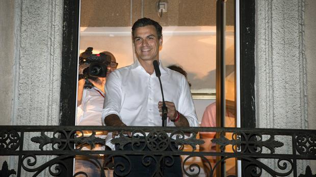 Pedro Sánchez, el 21 de maig ala seu del PSOE, després deser proclamat vencedor de les primàries.
