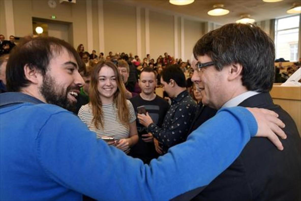 Puigdemont, en un acto en la Universidad de Helsinki, el viernes.
