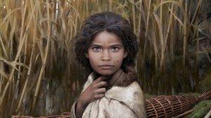 Recreación de la joven prehistórica cuyo genoma se ha hallado en una goma de mascar.
