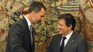 El Rey y Javier Fernández, este martes en el Palacio de la Zarzuela.