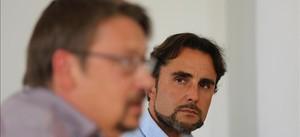 Xavier Domènech y Hervé Falciani, en la presentación del programa contra la corrupción de En Comú Podem en Barcelona.