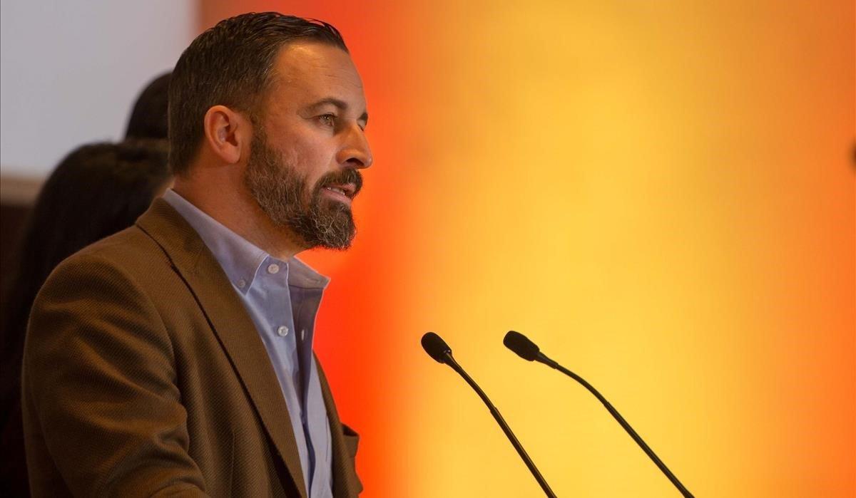 Santiago Abascal, presidente de Vox, en rueda de prensa en Sevilla el pasado día 3.