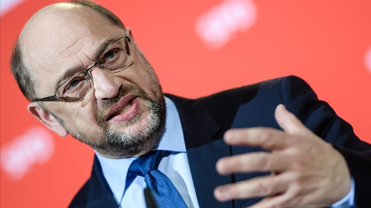 Schulz ofrece una rueda de prensa en Berlín, el 15 de diciembre.