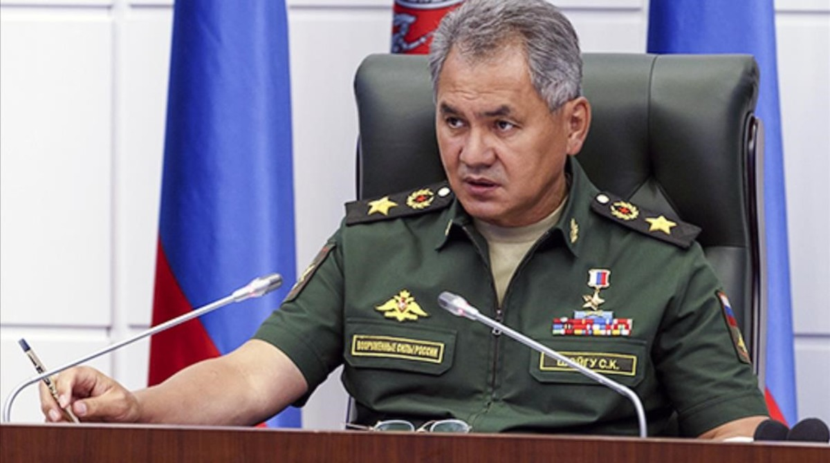 Shoigu habla en el cuartel general del Ministerio de Defensa, en Moscú, este jueves.